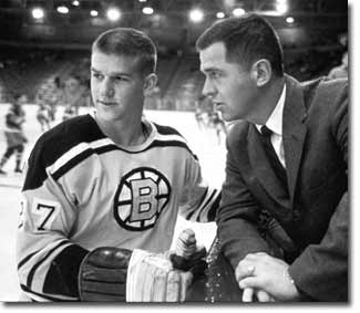 Bobby Orr, wearing Number 27, at his first Bruins training camp  with coach Harry Sinden.