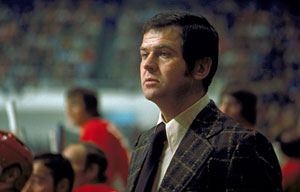 Team Canada head coach Harry Sinden behind the bench during the 1972 Summit Series.