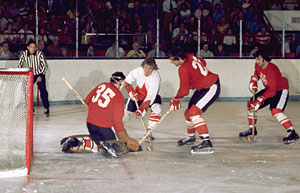 Team Canada's Red-White game during training camp at Maple Leaf Gardens leading up to the 1972 Summit Series against the Soviet Union.
