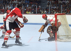 Canada's Frank Mahovlich with a scoring chance against Vladislav Tretiak of the Soviet Union during Game 1 action of the 1972 Summit Series at The Forum in Montreal on September 2, 1972.