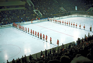 Canada and the Soviet Union get set to battle in Game 8 of the 1972 Summit Series at the Luzhniki Ice Palace in Moscow on September 28, 1972.