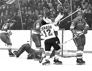 Canada's Paul Henderson celebrates after scoring the 1972 Summit Series winning-goal against the Soviet Union in Game 8 at the Luzhniki Ice Palace in Moscow on September 28, 1972.