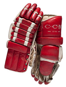 Gloves worn by Canada's Jean Ratelle during the 1972 Summit Series against the Soviet Union.