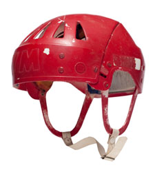 Helmet worn by Soviet Union forward Alexandre Yakushev during the eight games of the 1972 Summit Series against Canada.