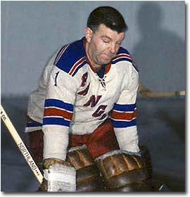 Gump Worsley earned rookie-of-the-year honours in 1952-53 with the New York Rangers