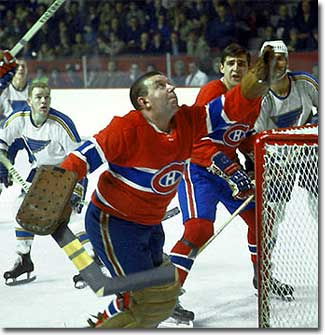 Gump Worsley playing with the Montreal Canadiens.