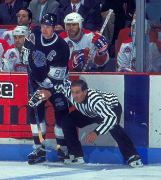 Ray Scapinello in action during the 1993 Stanley Cup Final between Montreal and Los Angeles.
