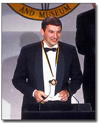 Tretiak makes his acceptance speech during the 1989 Hockey Hall of Fame Induction Ceremony