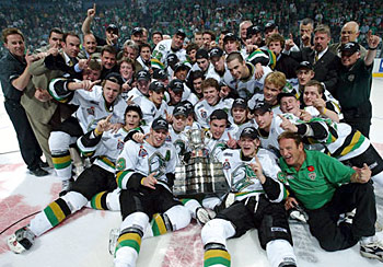 The London Knights hockey club celebrate their 4-0 victory over the Rimouski Oceanic in the Memorial Cup at the John Labatt Centre, London, Ontario, Canada.