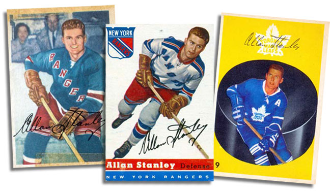 Three of Allan Stanley's hockey cards: 1953-54 Parkhurst card, 1954-55 Topps card card, 1962-63 Parkhurst card.
