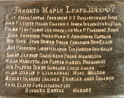 Allan Stanley's name among the Stanley Cup 1966-67 Toronto Maple Leafs engravings
