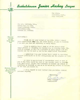 Letter from the Commissioner of the Saskatchewan Junior Hockey League, Frank Boucher, to R.W. Hewitson of the Hockey Hall of Fame confirming his presence at a luncheon to be held in Toronto on the 5th of September 1959