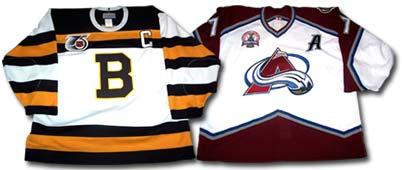 A key pair of NHL jerseys  Bourque s Boston Bruins jersey (left) worn  during the 1991-92 NHL season. That season 46ebf93389e