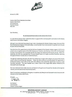 Ed Chynoweth S Letter Of Endorsement For Nomination Into
