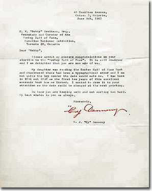 Legends of hockey spotlight cy denneny treasure chest on june 9th 1963 cy denneny sent this congratulations letter to bobby hewitson upon hearing of his election to the hockey hall of fame altavistaventures Choice Image
