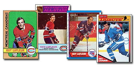 A selection of Guy Lafleur hockey cards. From left to right: