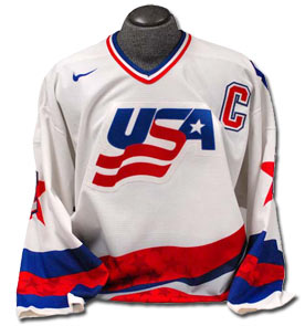 Team USA jersey worn by Brian Leetch during the 1996 World Cup of Hockey