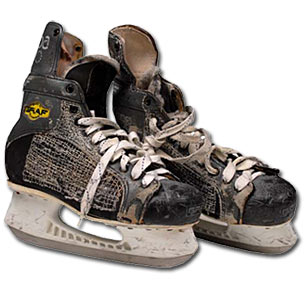 Skates worn by Brian Leetch as a member of the New York Rangers