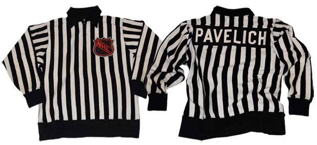 NHL Official's sweater worn by linesman Matt Pavelich during the 1970's