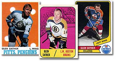 Three of Glen Sather s hockey cards (from left to right)  his 1970-71  O-Pee-Chee card  his 1967-68 rookie Topps card  and his faae5da06