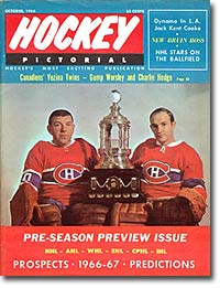October 1966 Hockey Pictorial magazine with Montreal goalies Gump Worsley and Charlie Hodge