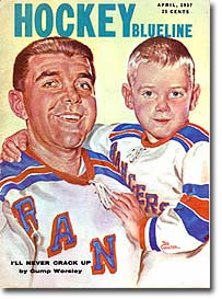 Gump Worsley featured on the 1957 Hockey Blueline cover