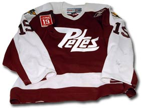 #19 Steve Yzerman Peterborough Petes jersey worn by Brett Lebda of the Detroit Red Wings during the pre-skate on Steve Yzerman's number retirement night on January 2, 2007.