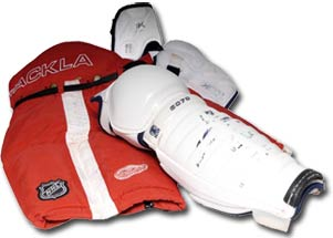 Pants, elbow pads and shin pads worn by Steve Yzerman of the Detroit Red Wings during his final NHL season in 2005-06.