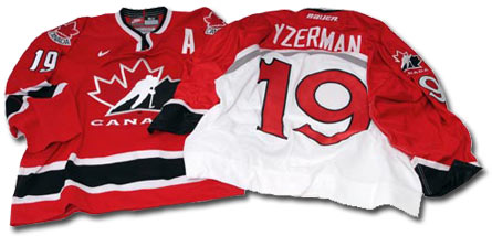 Steve Yzerman's Team Canada jersey worn during the 2002 Winter Olympic Games and 1998 Winter Olympic Games.