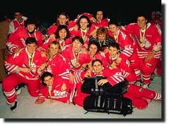 Canadian Women's Hockey team  celebrating their 1994 World Championship